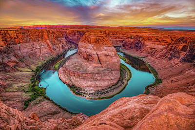 Photograph - Colorful Skies Over Horseshoe Bend - Page Arizona by Gregory Ballos
