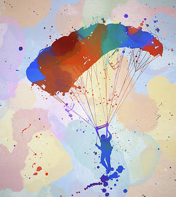 Painting - Colorful Skydiver by Dan Sproul
