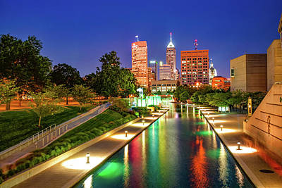Photograph - Colorful Skyline From The Indianapolis Canal Walk by Gregory Ballos