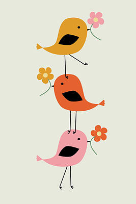 Animals Digital Art - Colorful stacked birds with flowers by Mihaela Pater