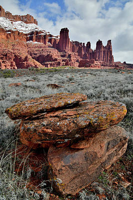 Photograph - Colorful Stacked Boulders At Fisher Towers In Utah by Ray Mathis