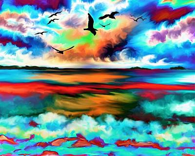 Sea Gull Wall Art - Painting - Colorful Sunset by ArtMarketJapan