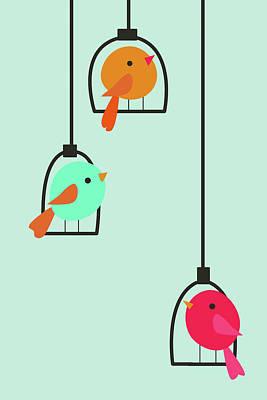 Digital Art - Colorful swinging birds by Mihaela Pater