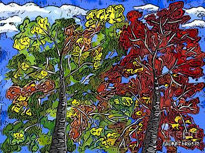 Digital Art - Colorful Trees by Laura Forde