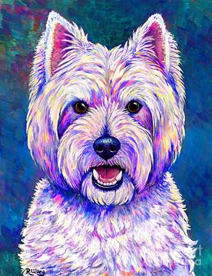 Painting - Colorful West Highland White Terrier Blue Background by Rebecca Wang