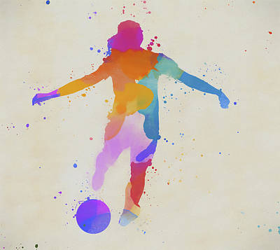 Sports Paintings - Colorful Woman Playing Soccer by Dan Sproul