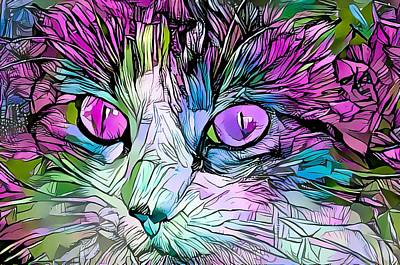 Surrealism Royalty Free Images - Coloring Book Kitty Purple Eyes Royalty-Free Image by Don Northup