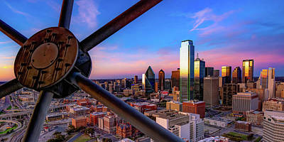 Royalty-Free and Rights-Managed Images - Colors of Sunset From Reunion Tower - Dallas Texas Skyline Panoramic by Gregory Ballos