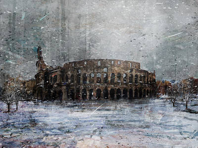 Surrealism Royalty-Free and Rights-Managed Images - Colosseo Neve by Andrea Gatti