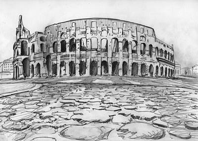 Reptiles Drawings - Colosseum drawing by Andrea Gatti