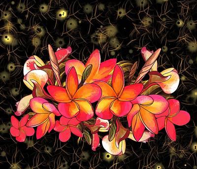 Wall Art - Digital Art - Coloured Frangipani Black And Gold Background by Joan Stratton