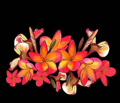 Wall Art - Digital Art - Coloured Frangipani Black Bkgd by Joan Stratton