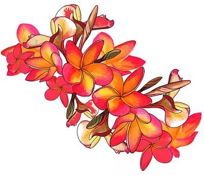 Wall Art - Digital Art - Coloured Frangipani White Bkgd2 by Joan Stratton