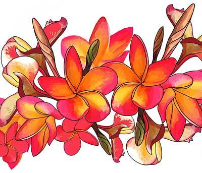 Wall Art - Digital Art - Coloured Frangipani White Bkgd3 by Joan Stratton