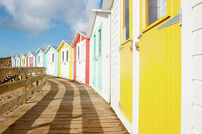 Colourful Bude Beach Huts Art Print