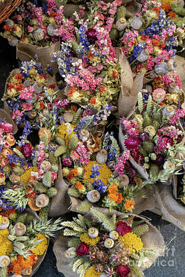 Photograph - Colourful Dried Flower Bouquets by Tim Gainey