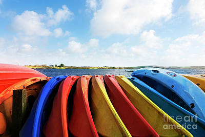 Photograph - Colourful Kayaks At Stithian Lakes by Terri Waters