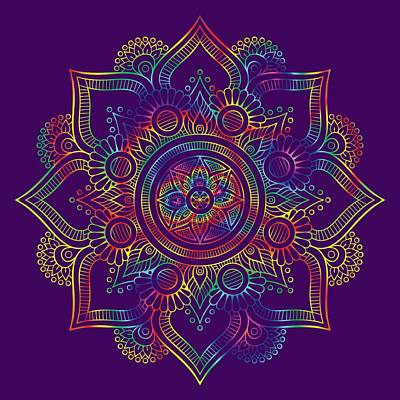 Digital Art - Colourful Rainbow Mandala Lavender by Georgeta Blanaru