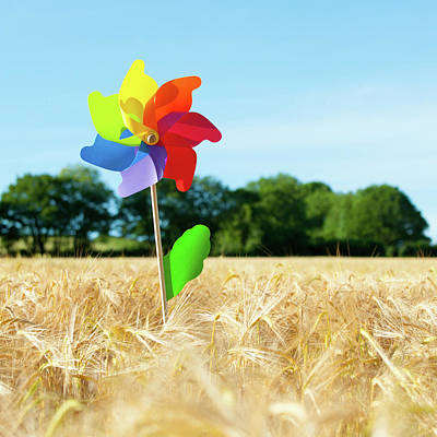 Photograph - Colourful Windmill In A Field Of Corn by Helen Northcott