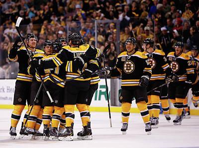Scoring Photograph - Columbus Blue Jackets V Boston Bruins by Jared Wickerham