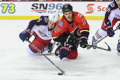 Photograph - Columbus Blue Jackets V Calgary Flames by Derek Leung