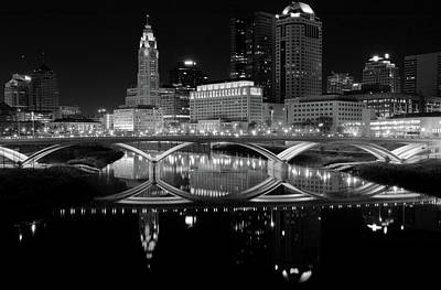 Photograph - Columbus Skyline Black And White by Dan Sproul