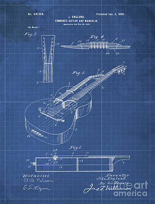 Musicians Drawings Rights Managed Images - COMBINED GUITAR AND MANDOLIN Patent Year 1899 Royalty-Free Image by Drawspots Illustrations