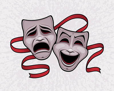 Farmhouse Rights Managed Images - Comedy And Tragedy Theater Masks Royalty-Free Image by John Schwegel