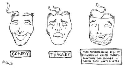 Drawing - Comedy Tragedy Semi Autobiograpical by Maddie Dai