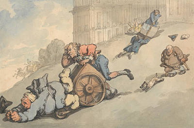 Drawing - Comforts Of Bath - Gouty Persons Fall On Steep Hill by Thomas Rowlandson