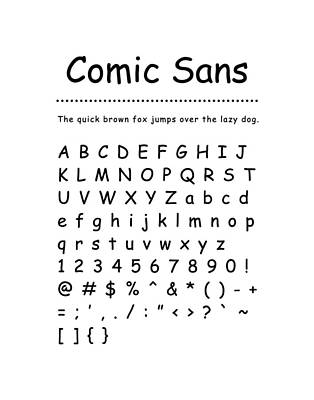 Digital Art - Comic Sans - Most Wanted by Barry Costa