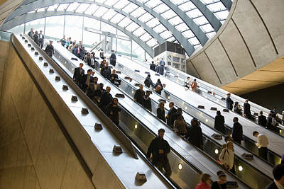 Photograph - Commuters Using Escalator Getting To by Grant Faint