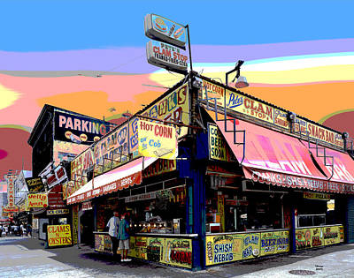 City Sunset Mixed Media - Coney Island Food Vendors by Charles Shoup