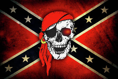 Photograph - Confederate Flag Skull by Les Cunliffe