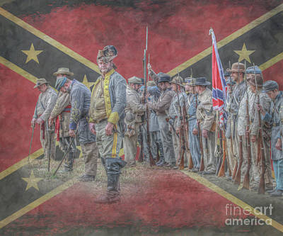 Digital Art - Confederate Soldiers On Flag by Randy Steele