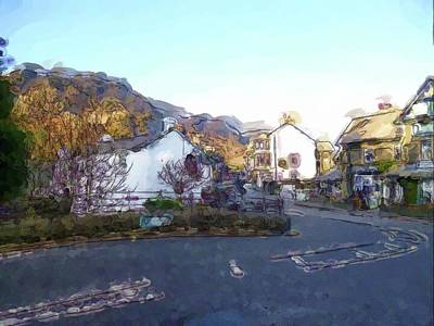 Digital Art - Coniston High Street Painting by JLowPhotos