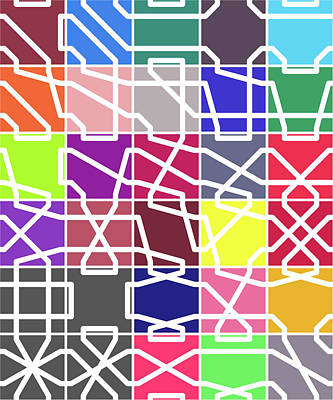 Connect 2 Colour Grid Art Print