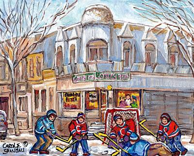 Painting - Connie's Pizza Psc Restaurant Winter Hockey Art Paintings Montreal Storefront C Spandau Canadian Art by Carole Spandau