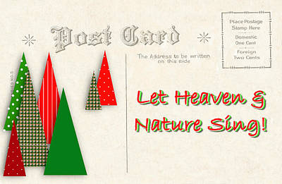 Digital Art - Contemporary Christmas Trees On Vintage Postcard by Colleen Cornelius