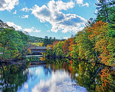 Photograph - Contoocook River In Henniker Nh Covered Bridge In The Fall by Toby McGuire