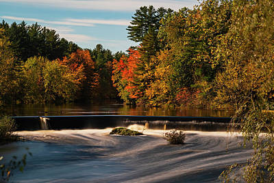 Photograph - Contoocook Waterfall At Autumn Contoocook River New Hampshire Contoocook Nh by Toby McGuire