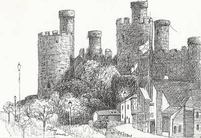 Fantasy Drawings - Conway Castle by Arthur Barnes