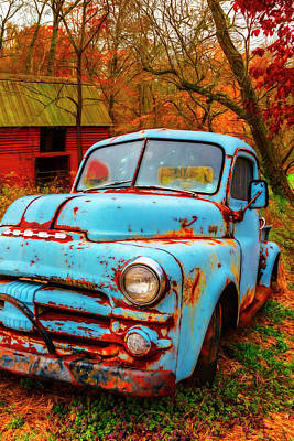Photograph - Cool Blue Dodge In Watercolors by Debra and Dave Vanderlaan