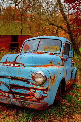 Photograph - Cool Blue Dodge Painting by Debra and Dave Vanderlaan