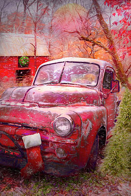 Photograph - Cool Red Dodge At Christmastime by Debra and Dave Vanderlaan