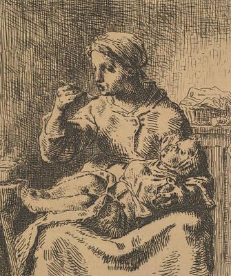 Relief - Cooling The Porridge by Jean-Francois Millet
