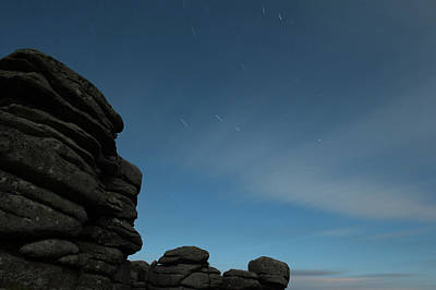 Photograph - Coombestone Tor Star Trails II by Helen Northcott