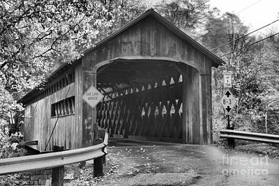 Photograph - Coombs Covered Bridge Black And White by Adam Jewell
