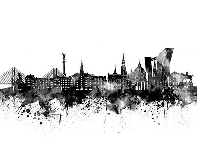 Abstract Skyline Royalty-Free and Rights-Managed Images - Copenhagen Skyline Bw by Bekim M
