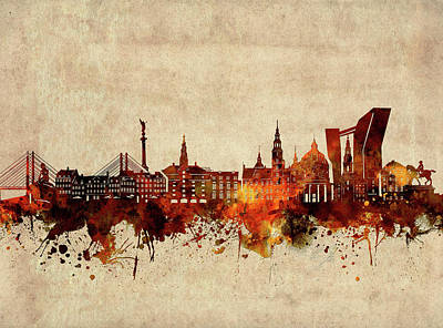Abstract Skyline Royalty-Free and Rights-Managed Images - Copenhagen Skyline Sepia by Bekim M